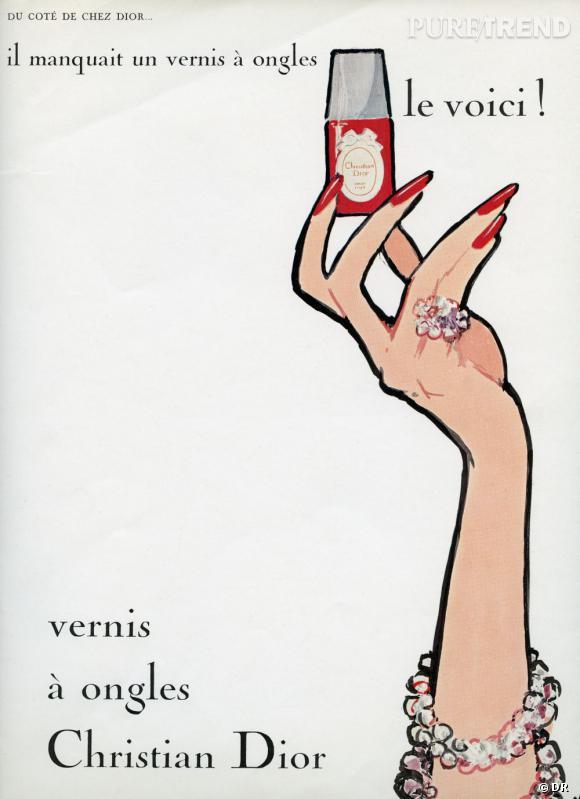 """La première publicité pour les vernis Dior a été illustrée par René Gruau. """" Du côté de chez Dior, il manquait un vernis à ongles, le voici ! """"."""
