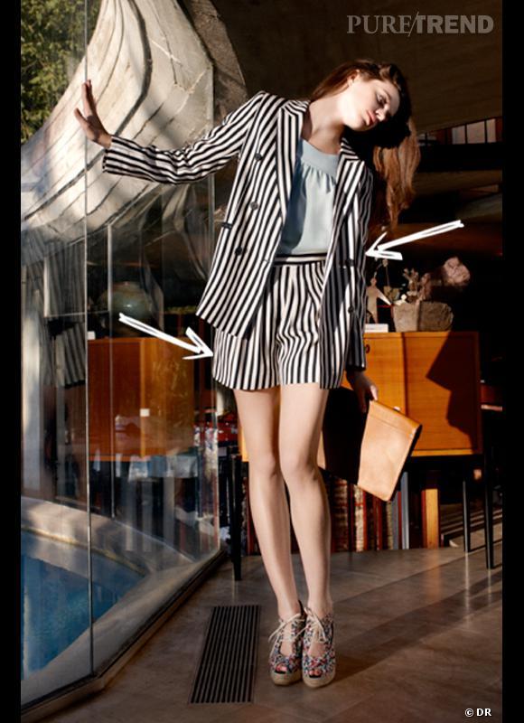 Comment porter le short cet été ?       Comme chez Claudie Pierlot on adopte le tailleur short avec veste rayée assortie.     Collection Printemps-Eté 2012