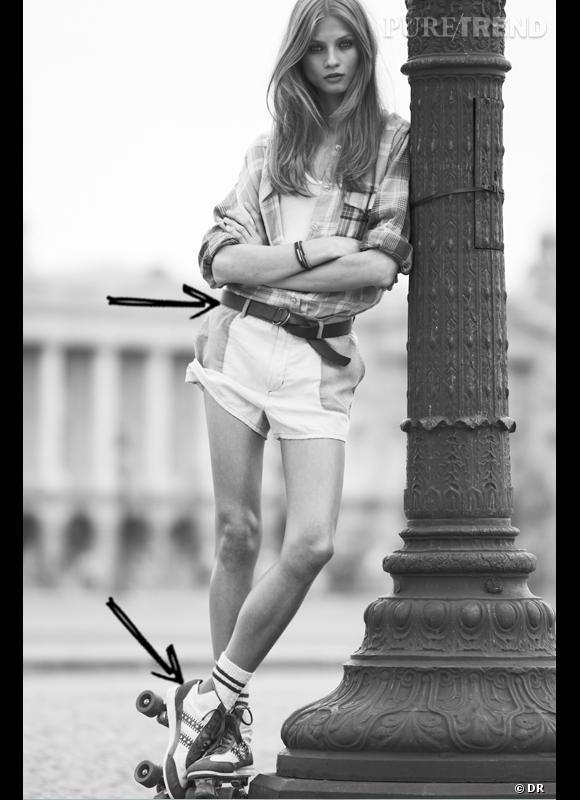 Comment porter le short cet été ?  Comme chez Etoile d'Isabel Marant on adopte le short en jean style boyfriend, mais rétro avec chemise à carreaux et rollers aux pieds. Collection Printemps-Eté 2012
