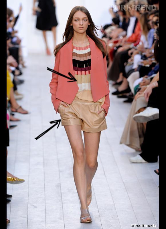 Comment porter le short cet été ?       Comme chez Chloé on ose le short en cuir combiné à du plissé.     Défilé Printemps-Eté 2012