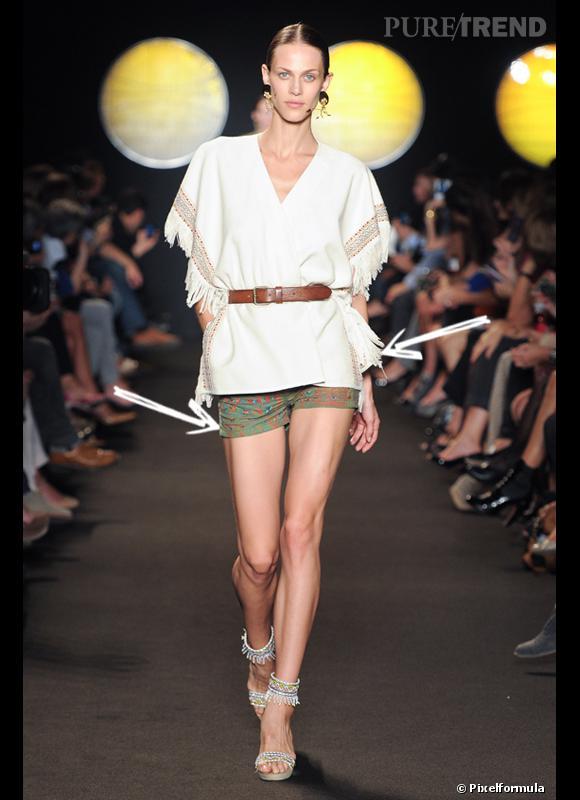 Comment porter le short cet été ?       Comme chez Paul & Joe, le short s'adopte version ethnique chic avec un top à franges.    Défilé Printemps-Eté 2012