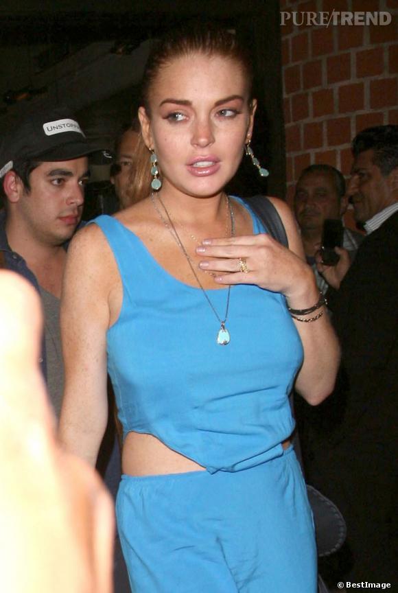 Lindsay Lohan à la sortie du restaurant Mr. Chow le 23 juillet dernier à Beverly Hills.