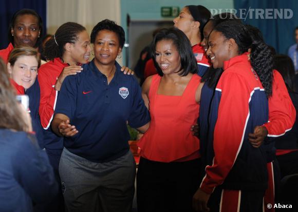 Michelle Obama à la rencontre des athlètes olympiques à Londres.