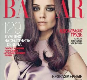 Katie Holmes : Photoshop à outrance et air hautain pour Harper's Bazaar Russie