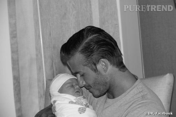 David Beckham et la petite Harper Seven, peu de temps après qu'elle soit née.