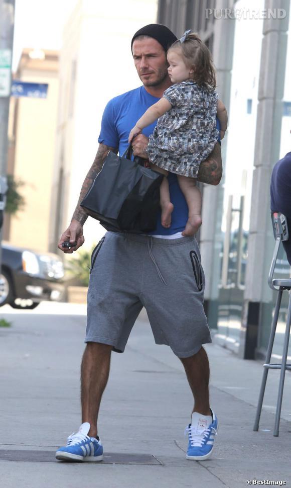 David Beckham, papa sportif et stylé, coordonne sa tenue à celle de sa fille.