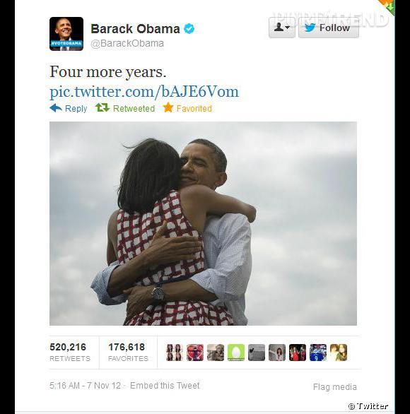 """""""4 ans de plus"""" affirme Barack Obama... Désormais, ce tweet a été relayé plus de 810 000 fois."""