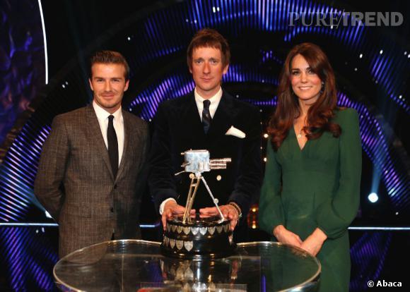 Kate Middleton, première apparition officielle au côté de Bradley Wiggins et David Beckham.
