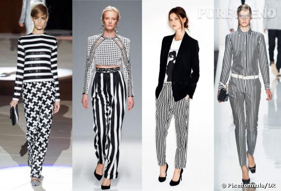2013 sera rayé ou ne sera pas. C'est la tendance incontournable du dressing de la saison prochaine. De gauche à droite silhouettes Marc Jacobs, Balmain, Zara et Michael Kors Printemps-Eté 2013.