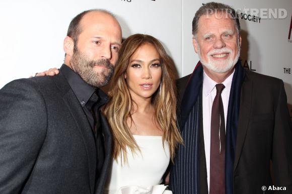 """Jennifer Lopez lors d'une projection de """"Parker"""" à New York aux côtés de Jason Statham et Taylor Hackford."""