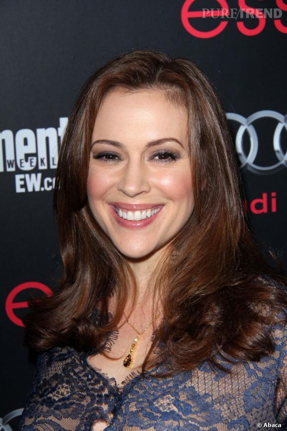 Alyssa Milano lors de la pré-soirée des SAG Awards à Hollywood a fait un joli flop mais reste pourtant tout sourire.