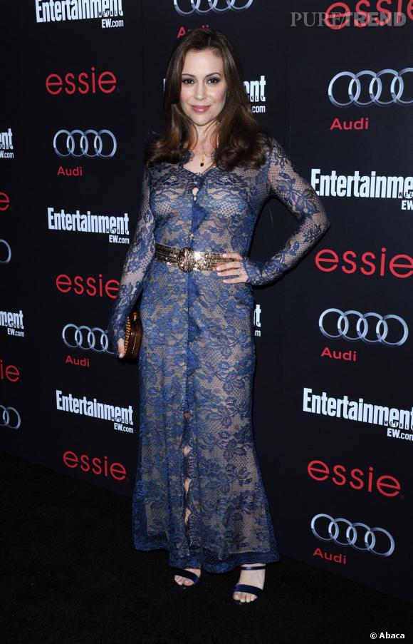 Alyssa Milano lors de la pré-soirée des SAG Awards organisée par Entertainement Weekly à Hollywood.
