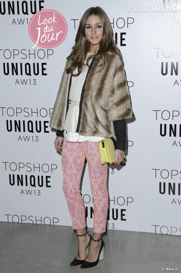 Olivia Palermo au défilé Topshop Unique Automne-Hiver 2013/2014 à Londres.