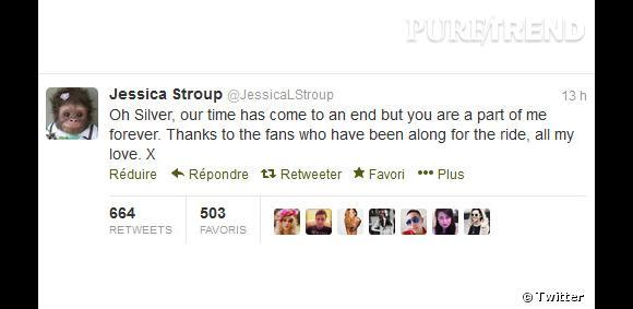 """Jessica Stroup (qui joue Silver) dit au revoir à son personnage par Twitter : """"Oh Silver, le moment est venu de se dire adieu, mais tu seras toujours au fond de moi. Merci pour les fans qui m'ont accompagnée durant cette aventure, je vous aime."""""""