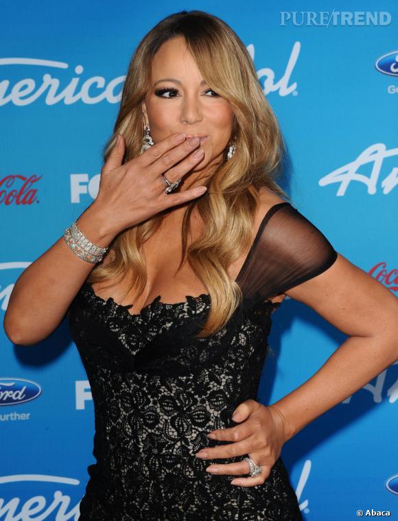"""Pour la soirée de la FOX spéciale """"American Idol"""", Mariah Carey mise sur une robe en dentelle noire."""