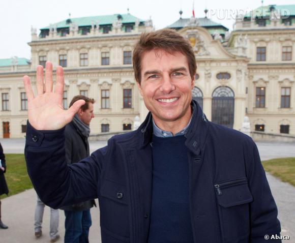 """Tom Cruise, en interview lors de l'avant-première d'""""Oblivion"""" à Vienne, en Autriche."""