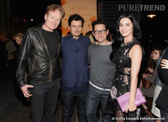 Conan O'Brien, Orlando Bloom, J.J. Abrams et Katy Perry lors de la soirée de récolte de fonds Coach.