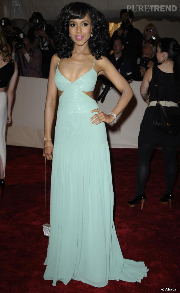 Le Gala du Met Costume Institute en 2011 : Kerry Washington, tendance pastel sexy.
