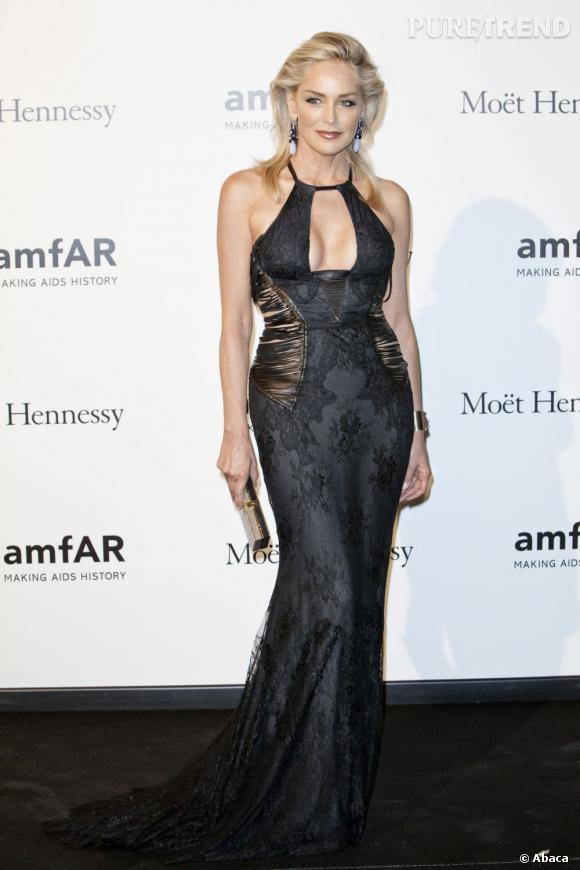 Sharon Stone au gala en faveur de l'amfAR de Milan le 22 septembre dernier.