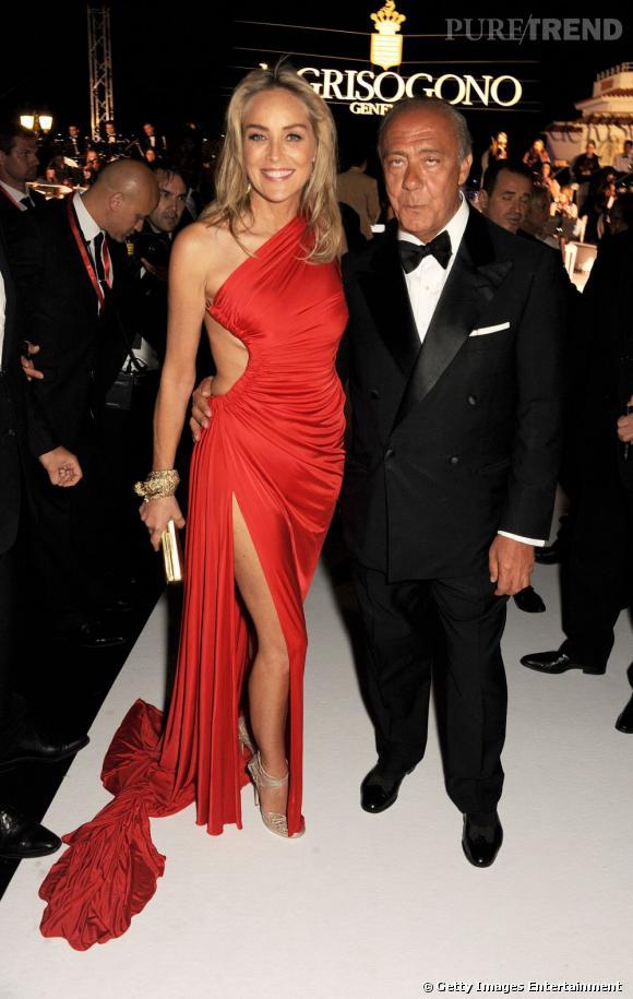 Sharon Stone et Fawaz Gruosi lors de la soirée de Grisogono organisée à Cannes.