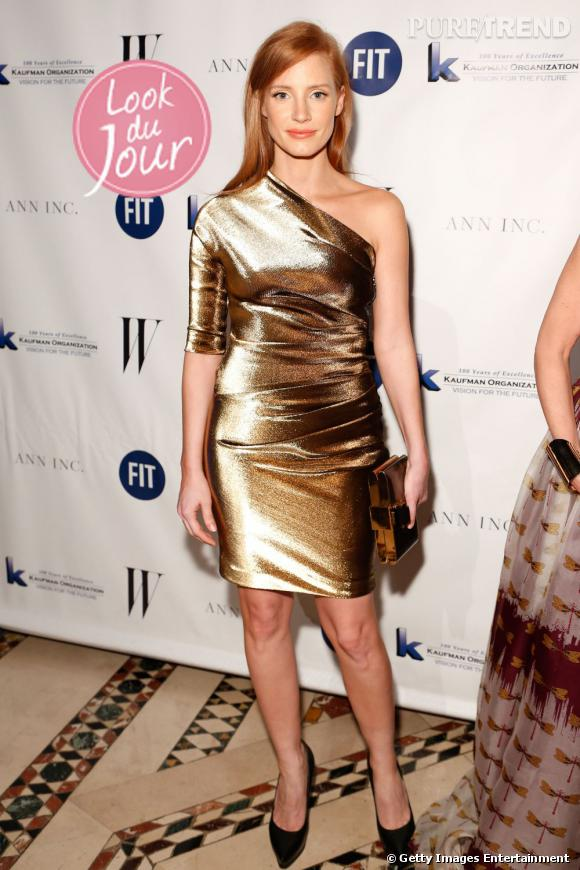 Jessica Chastain lors du gala du Fashion Institute Of Technology and FIT Foundation à New York.