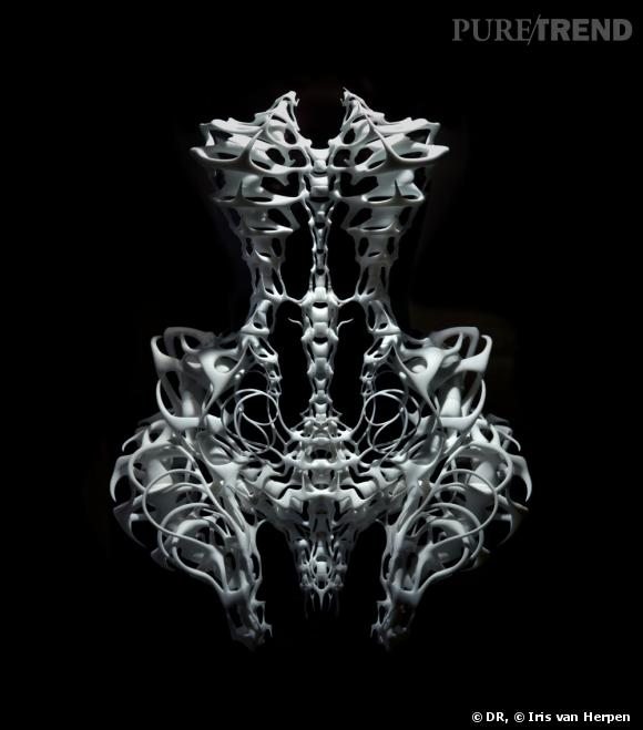 """Skeleton dress"" 2011, Iris van Herpen et Isaïe Bloch. Haute Couture 2011.Photo : Ingrid Baars © Iris van Herpen"