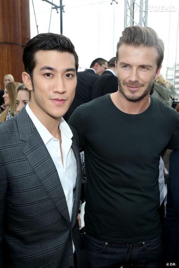 L'acteur Aarif Lee et David Beckham au défilé Homme Louis Vuitton Printemps-Été 2014.
