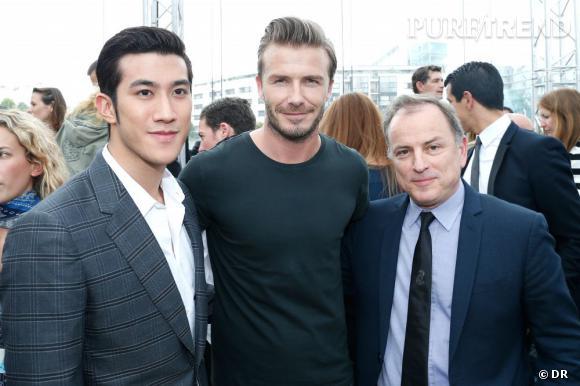 Aarif Leek, David Beckham et Michael Burke, PDG de Louis Vuitton, au défilé Homme Louis Vuitton Printemps-Été 2014.