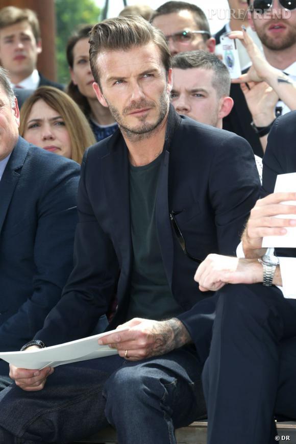 David Beckham au premier rang du défilé Homme Louis Vuitton Printemps-Été 2014.