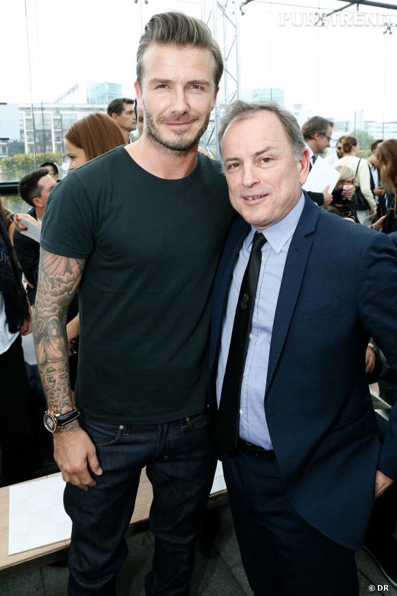 David Beckham et Michael Burke au défilé Homme Louis Vuitton Printemps-Été 2014.