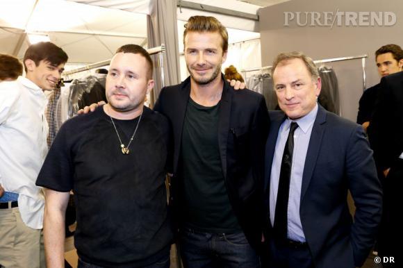 Kim Jones, David Beckham et Michael Burke dans les backstages du défilé Homme Louis Vuitton Printemps-Été 2014.