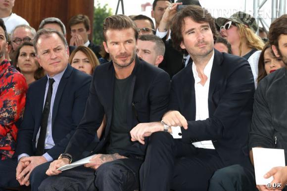 Michael Burke, David Beckham et Antoine Arnault au défilé Homme Louis Vuitton Printemps-Été 2014.
