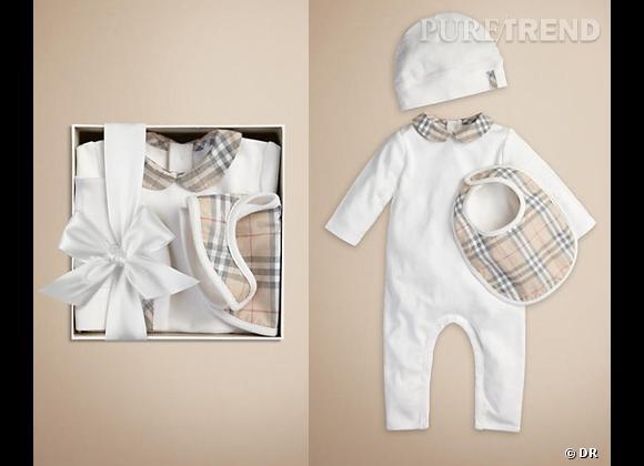 5 must have pour le baby royal Set Cadeau Naissance Burberry, 135 €
