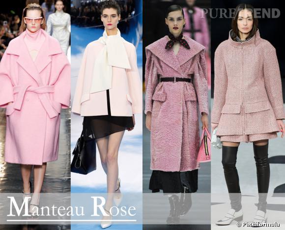 Les tendances de l'Automne-Hiver 2013/214 : Manteau Rose Défilés Carven, Christian Dior, Miu Miu et Chanel