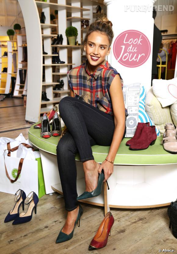 Jessica Alba pendant la Fashion Week de New York fait la promotion du magasin Piperlime.