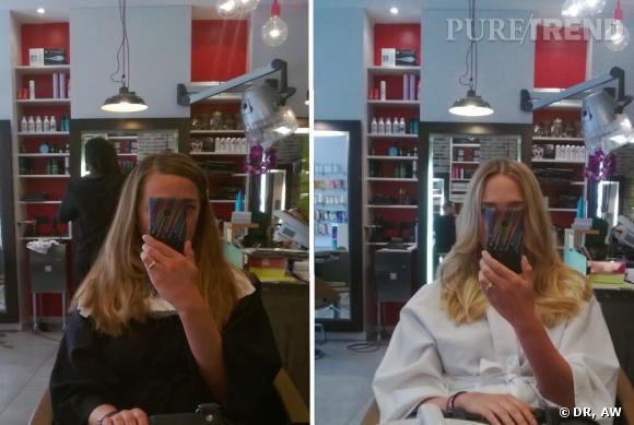 Un avant-après qui montre la différence, ce que ça donne de devenir blonde très blonde.