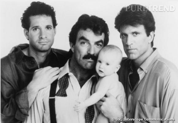 """""""Trois hommes et un bébé"""" (1987) : Steve Guttenberg, Tom Selleck et Ted Danson quelque peu débordés."""