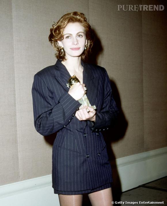 """Julia Roberts et son Golden Globe pour """"Pretty Woman"""" en 1991."""