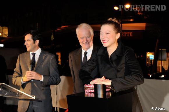 Léa Seydoux et André Dussolier aux Galeries Lafayette hier soir.