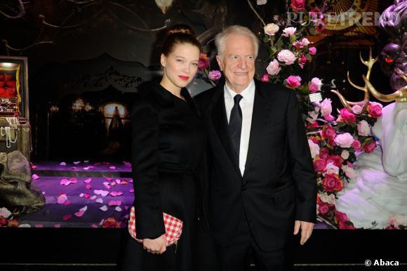 Léa Seydoux et André Dussolier ont illuminé les vitrines du Noël 2013 des Galeries Lafayette.