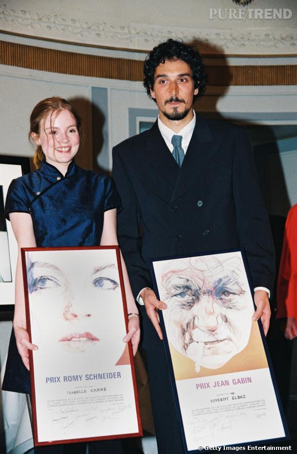 Vincent Elbaz tout jeunot reçoit le Prix Jean Gabin en 1998.