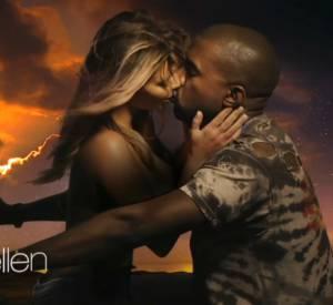 "Kanye West et Kim Kardashian dans le clip ""Bound 2""."