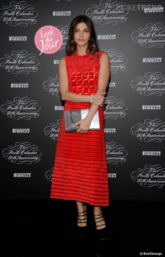 Elisa Sedanoui au diner anniversaire du calendrier Pirelli à Milan.
