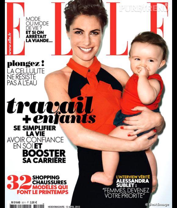 Alessandra Sublet, en couverture de Elle, avec sa fille Charlie.