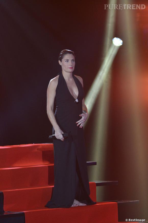 Alessandra Sublet, enceinte, lorsqu'elle a présenté les Victoires de la Musique en 2012.