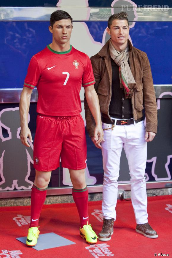 Cristiano Ronaldo, sa statue de cire dévoilée aujourd'hui à Madrid.