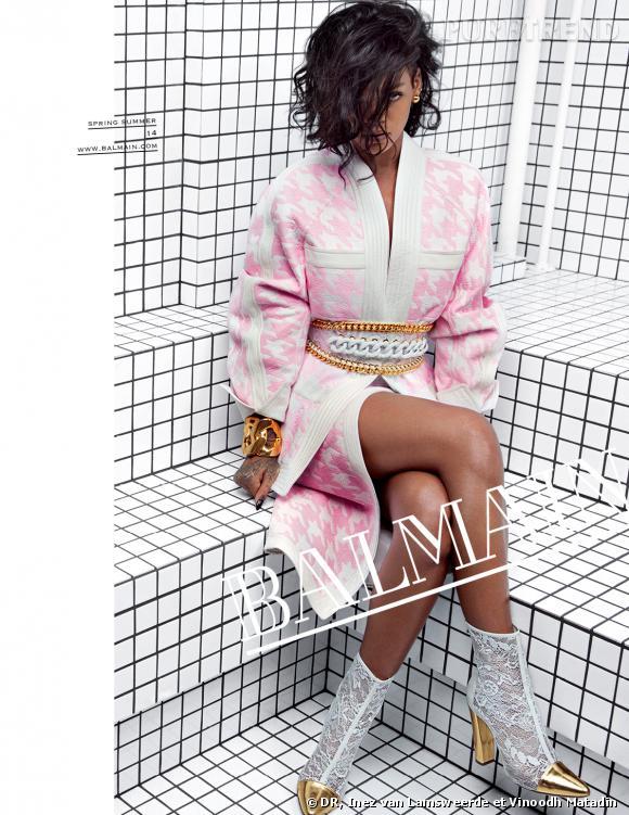 Rihanna, égérie de la collection Balmain Printemps-Été 2014.