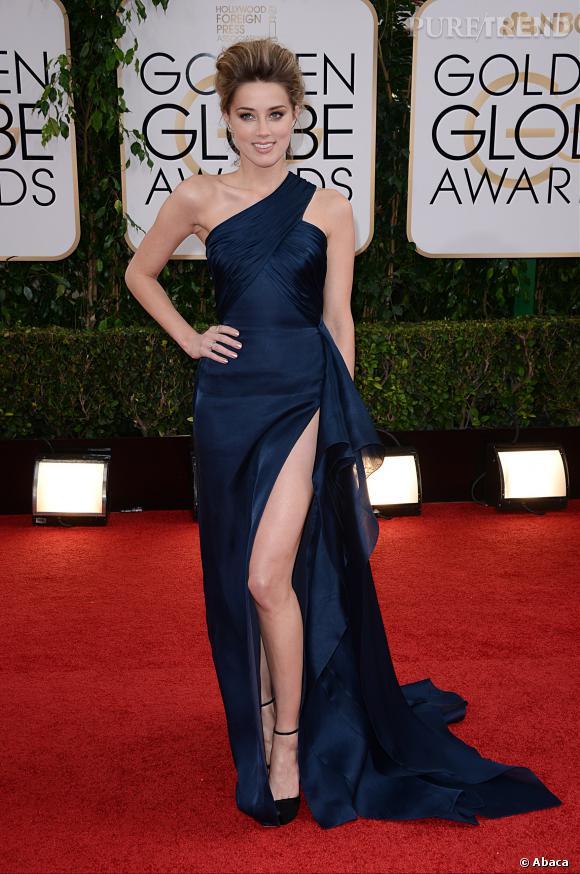 Amber Heard à la 71ème cérémonie des Golden Globes, édition 2014.