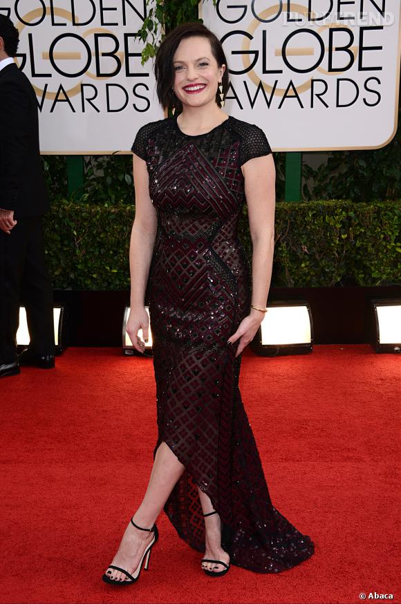Elizabeth Moss à la 71ème cérémonie des Golden Globes, édition 2014.
