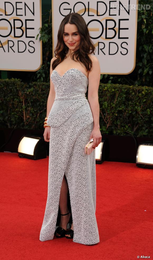 Emilia Clarke à la 71ème cérémonie des Golden Globes, édition 2014.